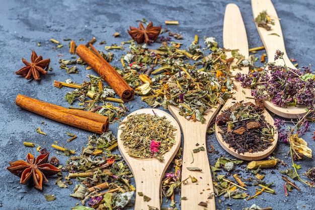 Different dry teas in wooden spoons line