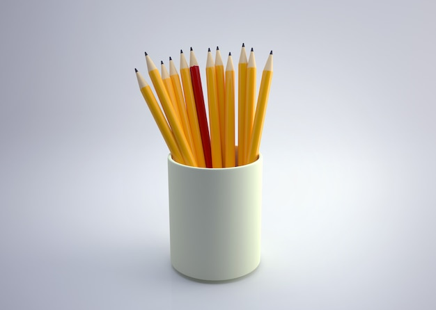 Different but equally suitable colored pencil in a pencil holder on isolated.