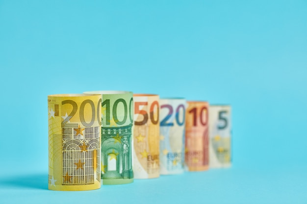 Different euro banknotes from 5 to 200 euro