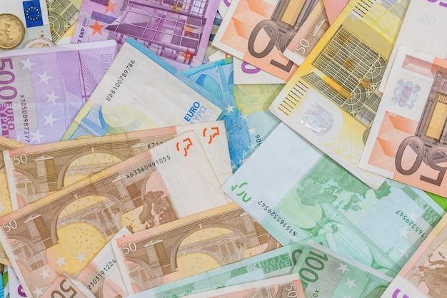 Different euro bills as background
