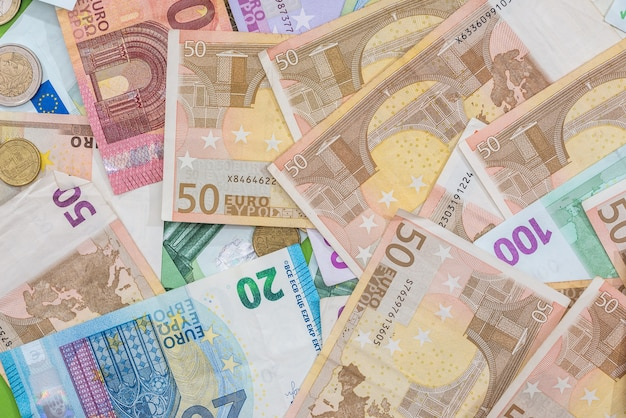 Different euro bills as background