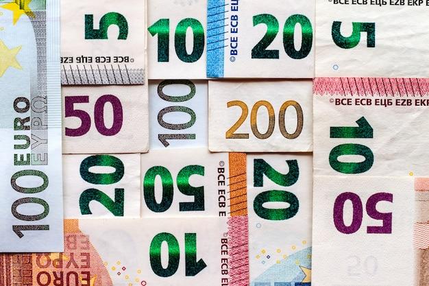 Different euro bills money for background