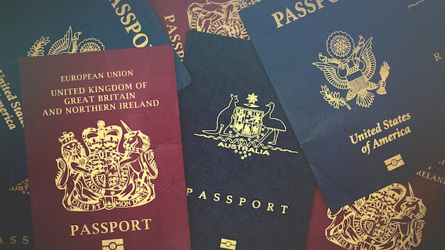 Different foreign passports from many countries & regions