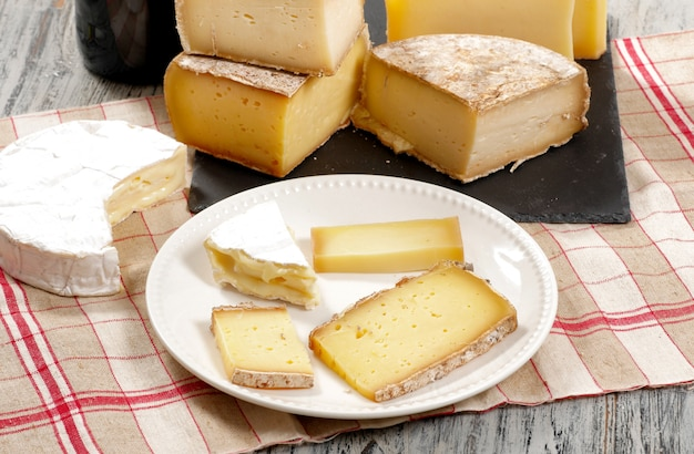 Different french cheeses normandy and savoie