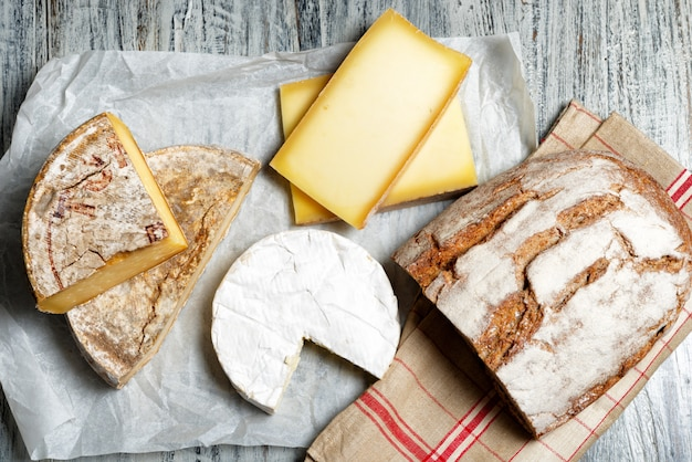 Different french cheeses with a bread