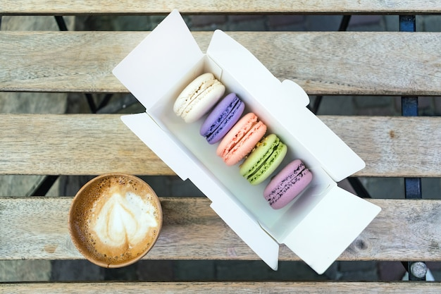 Different french macaroon cake in pastel colors