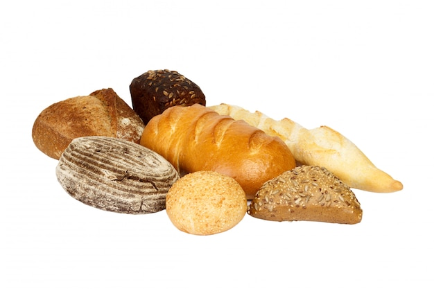 Different fresh bread, isolated