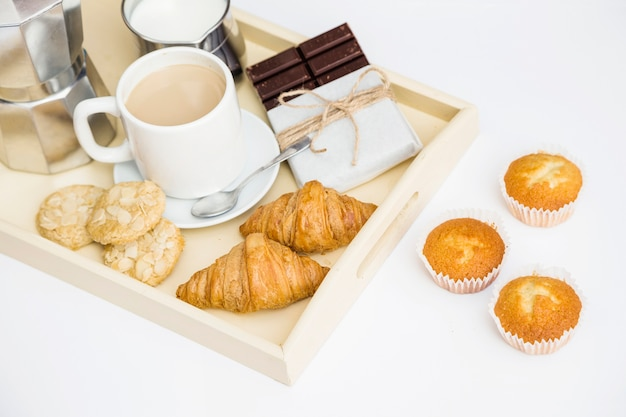 Different fresh foods for breakfast on white background