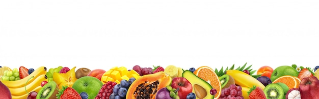 Different fruits isolated on white with copy space, border made of fruits and berries