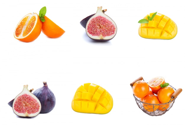 Different fruits placed in a row