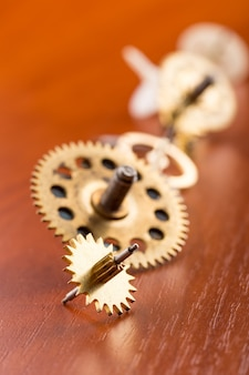 Different gears on the wooden table in a row