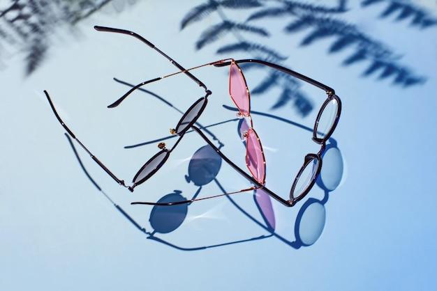 ヤシの木の影と別のメガネ