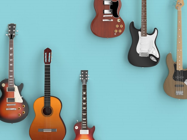Different guitars on blue floor, seen from above.