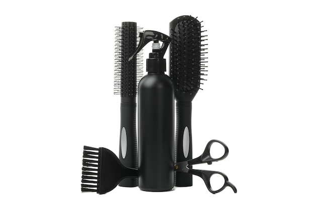 Different hairdresser accessories isolated