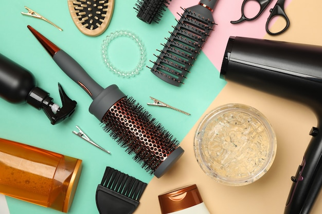Different hairdresser accessories, top view
