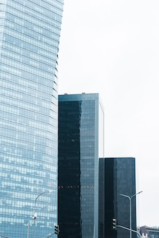 Different height glass buildings