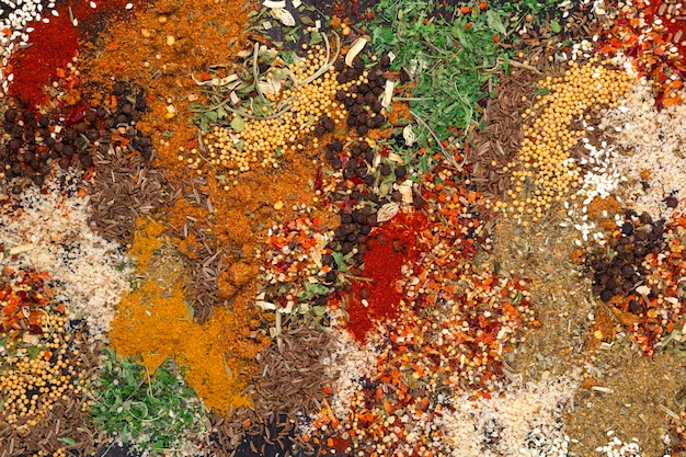 Different herbs and spices texture