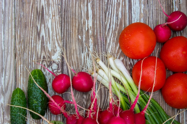 Different homegrown vegetables on white wooden background. selective focus.