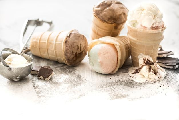 Different ice cream in a cone
