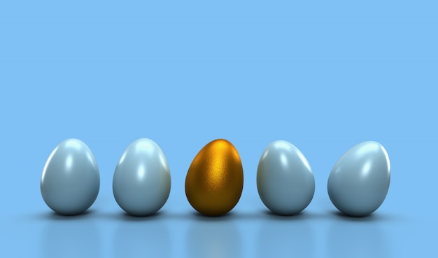 Different idea concept, one golden egg with glowing one from other egg on light cyan pastel color. different, leadership concept idea