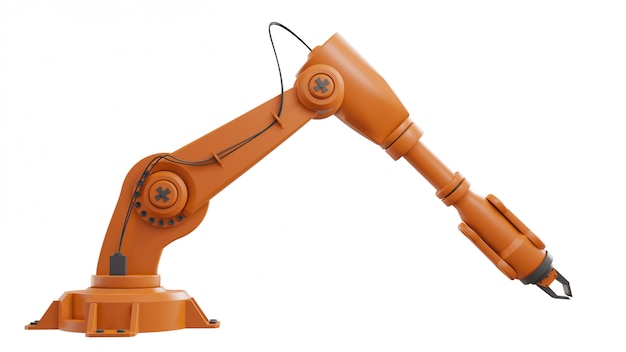 Different industrial robots isolated on white background 3d rendering white robotic arm with blank space on white background