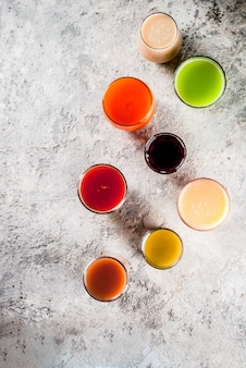 Different juices and smoothies