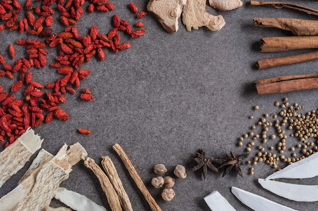 Different kind of chinese herbal on old background