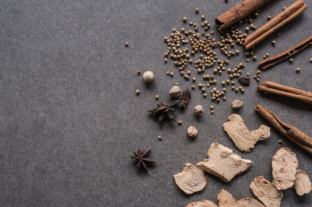 古い背景の中国のハーブの種類