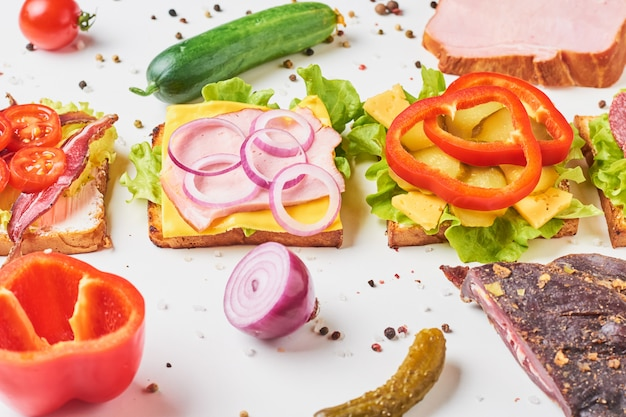 Different kind of sandwich and ingredients on a white background, close up