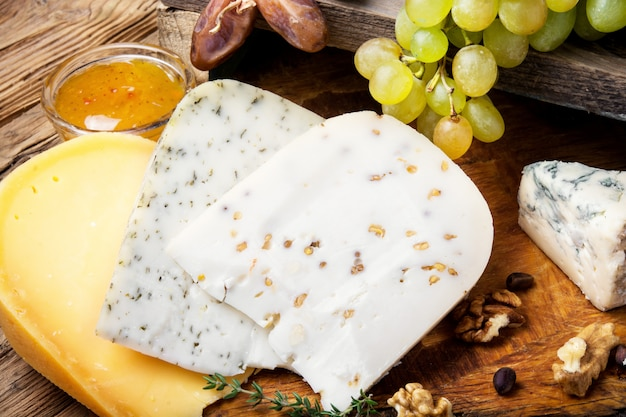 Different kinds of cheeses