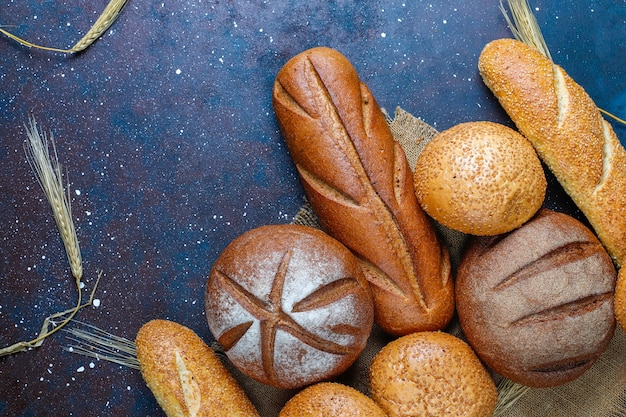 Different kinds of fresh bread