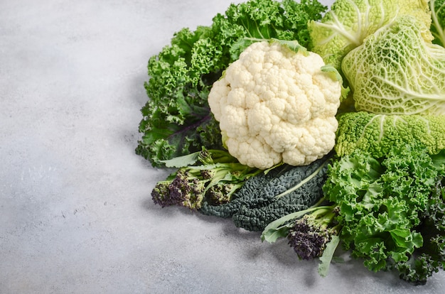 Different kinds of fresh organic cabbage on a gray concrete background