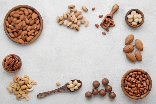 Different kinds of nuts copy space