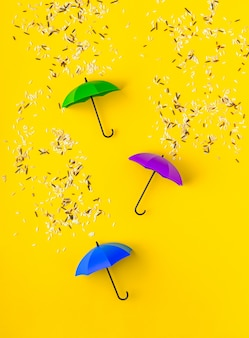 Different kinds of rice grains pouring on three toy umbrellas on vibrant yellow table. artistic concept of spring rain