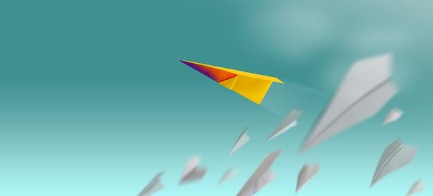 다른 리더 개성 개념. 실패의 그룹이 쓰러지고있는 동안 하늘을 나는 독특한 종이 비행기.