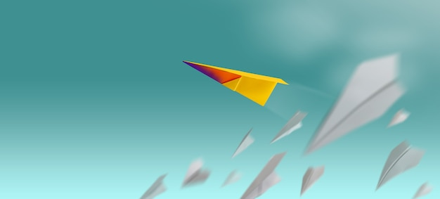 Different, leader individuality concept. unique paper plane flying up in the sky while the group of failure is falling down.