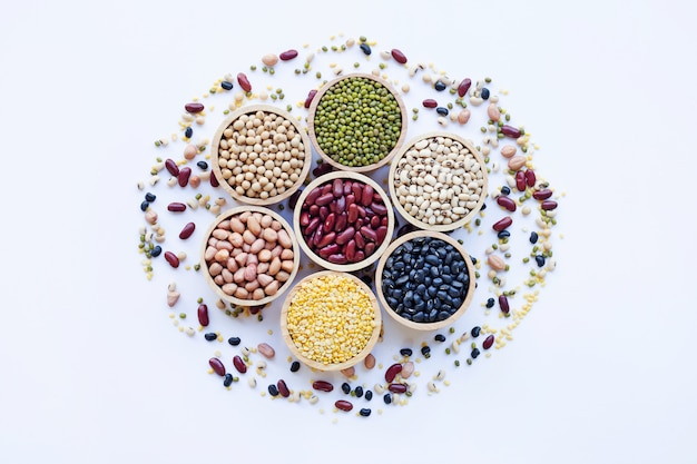 Different legumes isolated on white background.