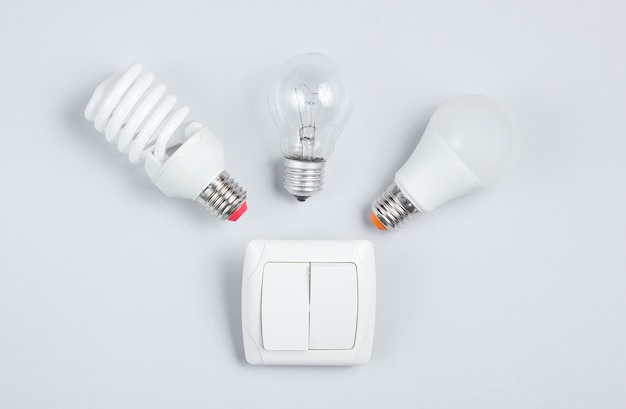 Different light bulb, switch. minimalism electro consumer concept