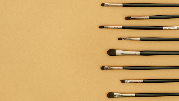 Different make-up brushes with copy space