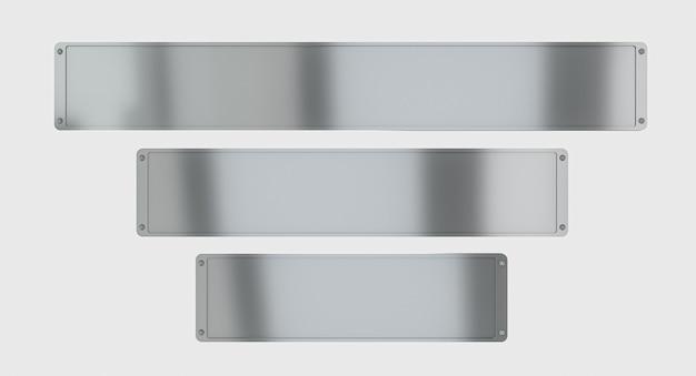 Различные металлические пластины на белом фоне. 3d визуализация