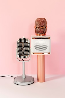 Different microphones with pink background