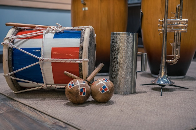 Different new caribbean instruments in the store