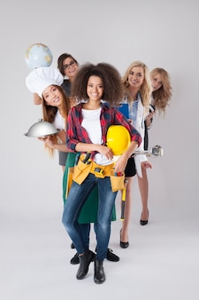 Different occupations of young women