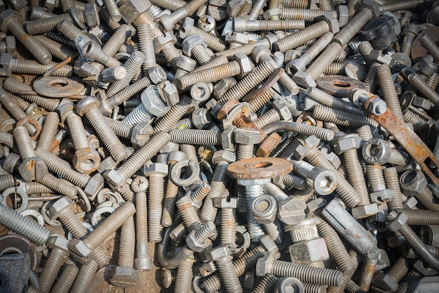 Different old bolts,screw and nuts