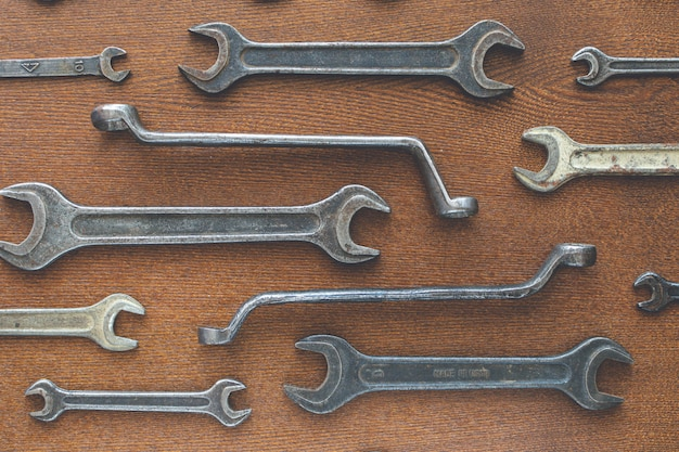 Different old wrenches, top view