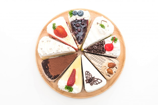 Different pieces of cake