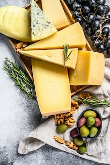 Different pieces of cheese with nuts olives and grapes. assorted delicious snacks