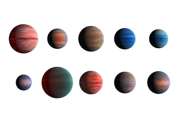 Различные планеты, изолированные на белом фоне