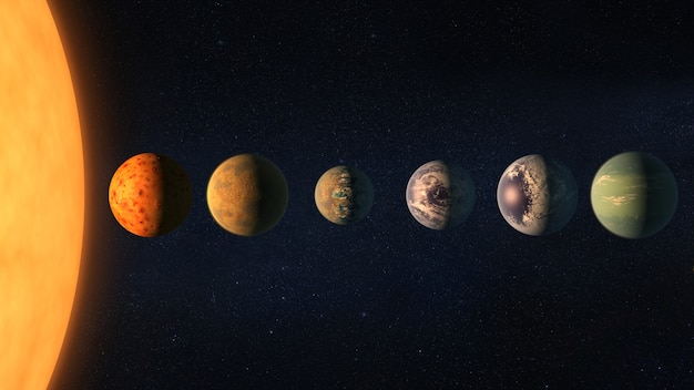Different planets with big sun in outer space