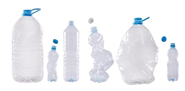 白で隔離される別のペットボトル